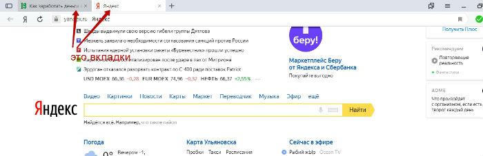 что такое вкладка браузера