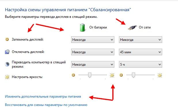 как настроить отключение экрана на windows 7